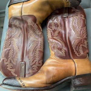 Lucchese 1883 Brown Exotic Lizard Skin Tips Cowboy